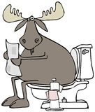 Moose sitting on a toilet Royalty Free Stock Images