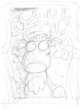 Moose to the window with star,sketches and pencil sketches and doodles Stock Photo