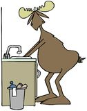Moose washing his hands in a sink Stock Photo