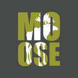 Moose. Wild animal silhouette text on a gray background. Stock Photo