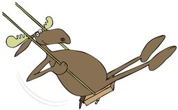 Moose on a wooden swing Royalty Free Stock Photos