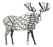 Moose zentangle stylized, vector, illustration, freehand pencil. Royalty Free Stock Photos