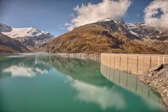 Mooserboden dużej wysokości rezerwuar blisko Kaprun, - Zell am Widzii, Austria Zdjęcia Royalty Free