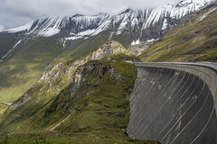Mooserbodendam boven Kaprun Stock Afbeeldingen