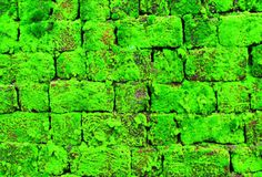 Moosige Backsteinmauer Stockfoto
