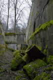 Moosige Ruinen des Eingangs zu verlassenem sowjetischem Fort in Lettland Stockfoto