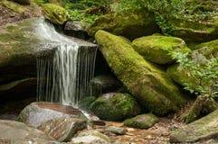 Moosiger Felsen-Wasserfall Stockbilder