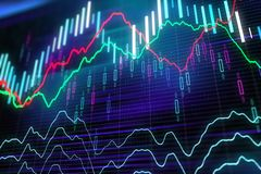 Mooving financial graphs. Forex glowing graphs of different colors showing financial market situation on abstract digital background. 3D render Stock Images