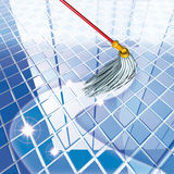 Mop blue floor Royalty Free Stock Photo