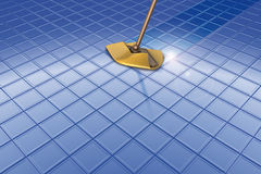 Mop and blue floor and reflection Royalty Free Stock Image