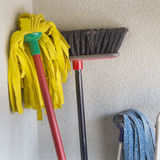 Mop and broom Stock Image