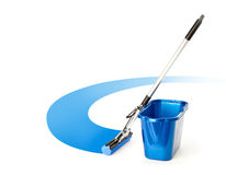 Mop and bucket. Isolated on white background royalty free stock photo