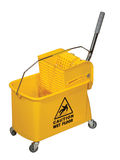 Mop Bucket. Yellow Mop Bucket isolated on white background Royalty Free Stock Photo