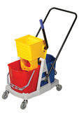 Mop Bucket. Yellow and Red Mop Bucket isolated on white background Royalty Free Stock Image