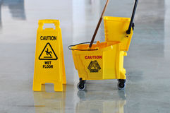 Free Mop, Bucket And Caution Wet Floor Royalty Free Stock Photos - 11546638