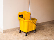 Mop bucket on cleaning in process indoor Royalty Free Stock Photo