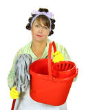 Mop And Bucket Housewife Stock Image