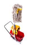 Mop bucket over white Stock Photos