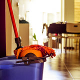 Mop and bucket, to clean the floor Stock Photos