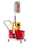 Mop bucket on white Stock Photos
