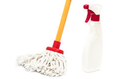 Mop and cleaner bottle Royalty Free Stock Photos