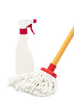 Mop and cleaner bottle Stock Photos