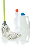 Mop and cleaning bottles Royalty Free Stock Photo