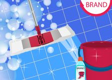 Mop cleaning clean blue tile floor shiny. Disinfectant cleaner for washing floors and bucket. Vector. Illustration stock illustration