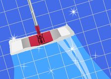Mop cleaning clean blue tile floor shiny. Vector. Illustration vector illustration