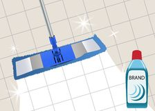 Mop cleaning clean floor shiny. Disinfectant cleaner for washing floors. Vector. Illustration royalty free illustration