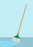 Mop cleaning a floor concept. Editable Clip Art. A floor shines when a liquid cleaning agents and a yarn mop passes through Stock Image