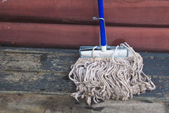Mop cleaning gadgets on terrace Royalty Free Stock Photography