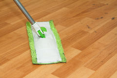 Mop Cleaning Parquet Stock Images