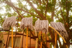 The mop cloth hanging on the iron railings Royalty Free Stock Photos