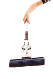 Mop in hand isolated Stock Image