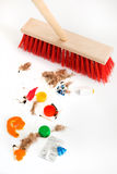 Mop and mixed debris royalty free stock photo