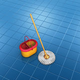 Mop orange bucket floor cleaning Royalty Free Stock Photography