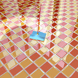 Mop and orange chequerboard floor Royalty Free Stock Photography