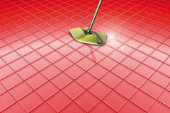 Mop and red floor Stock Photography