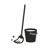 Mop. Vector icon isolated on white background royalty free illustration