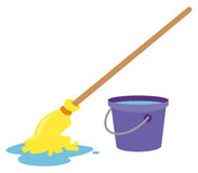 Mop and water bucket. Illustration royalty free illustration