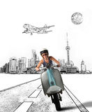 Moped. Girl driving old moped with city drawing on background Royalty Free Stock Photos