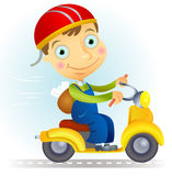 Moped. Vector illustration of courier on a bike with letters Stock Image