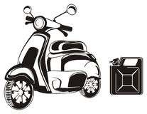 Moped and canister. Black and white moped with canister Stock Photography