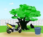 Moped in the Garden Royalty Free Stock Photos