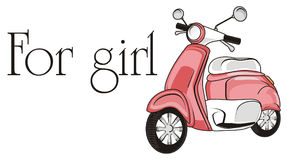 Moped for girl. Pink moped with words for girl Royalty Free Stock Photo