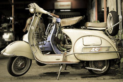 Moped. Old retro moped in the city Royalty Free Stock Images