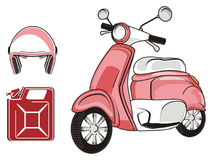Moped with pair objects. Pink moped with red canister and pink helmet Stock Images