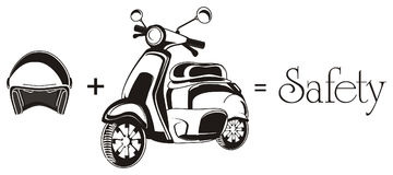 Moped and stuffs. Black and white moped with word safety and helmet Royalty Free Stock Photos