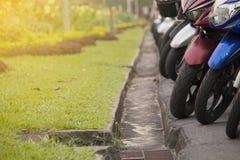 Mopedparkering i trädgård Arkivbild
